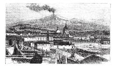 Mount Etna in Sicily, Italy, vintage engraving Stock Illustration