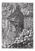 Fingal's Cave in Staffa, Scotland, United Kingdom, vintage engraving Piirros