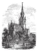 Christ Church Cathedral in Fredericton, New Brunswick, Canada vintage engravi Piirros
