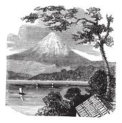 Mount Fuji in Japan vintage engraving Stock Illustration