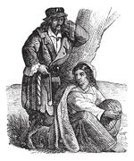 Young gypsy couple by tree vintage engraving Stock Illustration