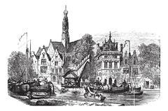 Grain market and Saint-Bavochurch docks, in Haarlem,  Netherlands vintage eng Stock Illustration