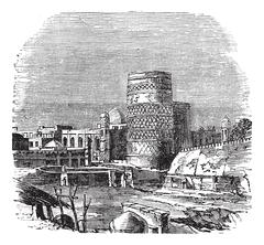 Mosque of the palace of Khiva vintage engraving Stock Illustration