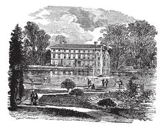 The Royal Botanic Garden and a view of Museum No. 1 vintage engraving Stock Illustration