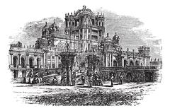 La Martiniere College in Lucknow Uttar Pradesh India vintage engraving Stock Illustration