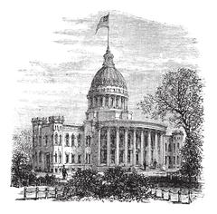Wisconsin State Capitol in Madison US vintage engraving Piirros