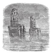 Statue of Memnon, Egypt, vintage engraving Piirros