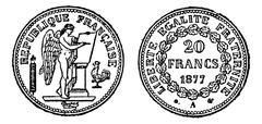Gold coin of 20 francs, vintage engraving. Stock Illustration