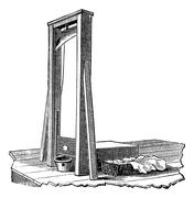 Guillotine isolated on white, vintage engraving Piirros