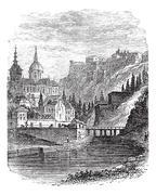 Namur in Wallonia, Belgium, vintage engraved illustration Stock Illustration