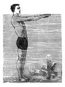 Breaststroke, Second Position, vintage engraved illustration Stock Illustration