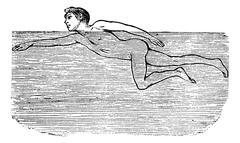 Cutting Through Water, vintage engraved illustration Stock Illustration