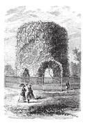 Newport Tower in Rhode Island, USA, vintage engraved illustration Stock Illustration