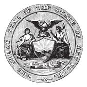 Seal of the State of New York, vintage engraved illustration Stock Illustration