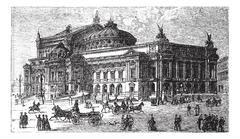 The new opera in Paris, France, late 1800s, vintage engraving Stock Illustration