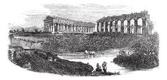 The ruins of temples at Paestum in Campania Italy vintage engraving Stock Illustration