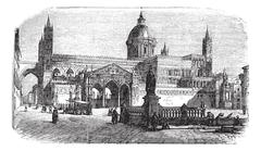 Cathedral of Palermo in Palermo Sicily Italy vintage engraving Stock Illustration