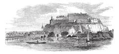 Petrovaradin Fortress in Novi Sad Serbia vintage engraving Stock Illustration
