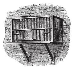 Area or a pigeon cage, vintage engraving. Stock Illustration