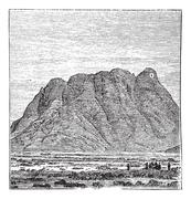 Mount Sinai or Mount Horeb in Sinai Peninsula Egypt vintage engraving Stock Illustration
