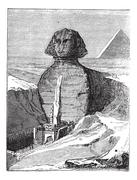 Great Sphinx of Giza in Giza Egypt vintage engraving Stock Illustration
