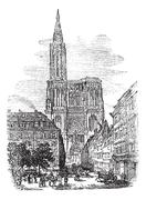 Strasbourg Cathedral or Cathedral of Our Lady of Strasbourg in Strasbourg, Fr Stock Illustration
