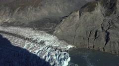 McBride Glacier Terminus Into Muir Inlet Alaska Aerial Stock Footage