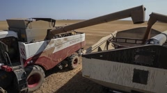 Havester pours grain into a truck Stock Footage