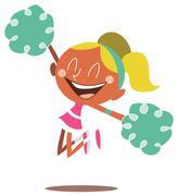 Blond cheerleader jumping and cheering Stock Illustration