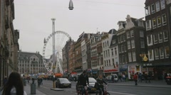 AMSTERDAM, NETHERLANDS - 16 oct 2016, Dam Square - historical ctnter of Holland Stock Footage