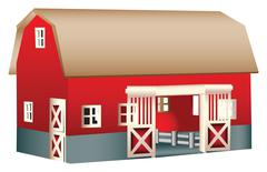 Red wooden toy barn Stock Illustration