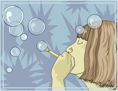 Girl blowing bubbles, illustration Stock Illustration