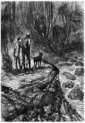 Bushman and his companion watched, vintage engraving. Stock Illustration