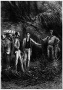 The bushman hunter, presenting his companion, vintage engraving. Stock Illustration