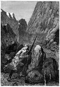He reaches the entrance of the den, vintage engraving. Stock Illustration