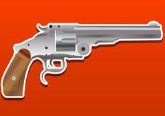 Gun, Handgun, Pistol or Revolver, illustration Stock Illustration