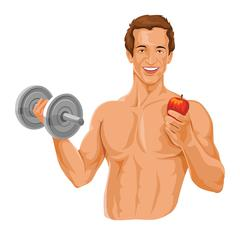 Vector of fit man holding dumbbell and an apple. Stock Illustration