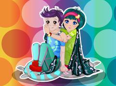 Young couple, illustration Stock Illustration