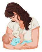 Vector of mother breastfeeding little baby. Stock Illustration