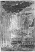The formation of the atmosphere. First condensation water, vintage engraving. Stock Illustration