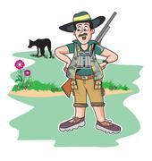 Safari hunter, illustration Piirros