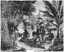 Cannibals of Central Africa in 1870, vintage engraving. Stock Illustration