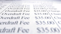 Overdraft Fees Bank Statement Paperwork Stock Footage