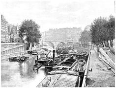 Small arm of the Seine between the City and the Quai des Augustins, vintage e Piirros