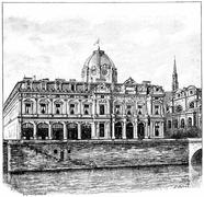 The Palace of the Commercial Court, vintage engraving. Stock Illustration