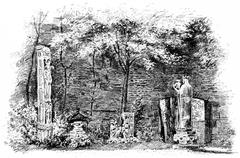The ruins of the palace of the Thermes de Cluny in the garden, vintage engrav Stock Illustration