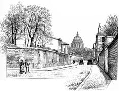 Val-de-Grace seen from the street of health, vintage engraving. Stock Illustration