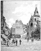 Rue Mouffetard and Saint-Medard church, vintage engraving. Piirros