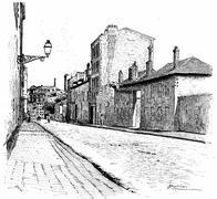 Street of Champ-de-Alouette, vintage engraving. Stock Illustration