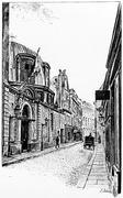 School of Decorative Arts, rue de l'Ecole de Medecine, vintage engraving. Stock Illustration